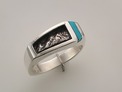 The Rockies SS & turq gent's ring