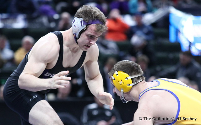 1st Place Match - Trey Rogers (Hastings) 49-0 won by major decision over Jacob Scherber (Buffalo) 34-2 (MD 17-7). 180303CJF0730
