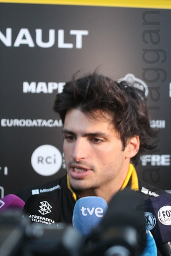 Carlos Sainz Jr is interviewed during Formula One Winter Testing 2018