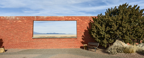 wclwideconversionlens window fujifilmfinepixx100 bush wall meteorcrateraz places bench winslow arizona unitedstates us windowwednesdays hww