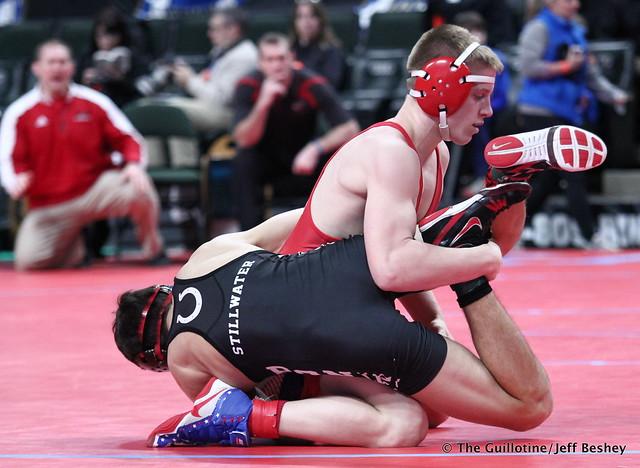 Semifinal - Clay Carlson (Willmar) 48-0 won by tech fall over Trey Kruse (Stillwater) 41-11 (TF-1.5 5:04 (22-7)). 180303AJF0193