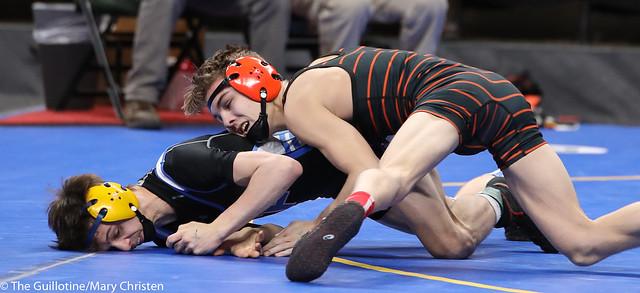 Semifinal - Ashton Clark (Park Rapids Area) 38-1 won by decision over Nate Garceau (Foley) 36-5 (Dec 5-3). 180303AMC5181