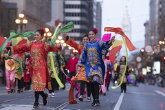 Traditional Chinese dance performance on Market Street during Chinese New Year Parade 2018 on February 24, 2018, in San Francisco, California, USA. (Photo by Yichuan Cao/NurPhoto)