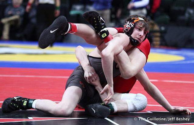 Semifinal - Paxton Creese (Shakopee) 45-2 won in sudden victory - 1 over Ryan Henningson (Winona-Winona Cotter) 44-2 (SV-1 6-4). 180303AJF0023
