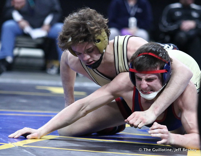 1st Place Match - Nate Larson (Apple Valley) 44-3 won by fall over Mitchell Wilson (St Francis) 26-2 (Fall 3:32). 180303CJF0371
