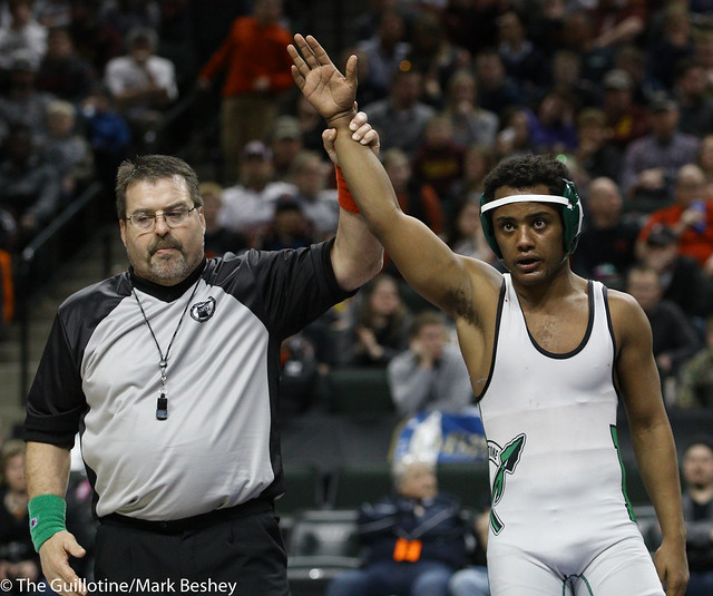 126A 1st Place Match - Michael Suda (Pipestone Area) 40-3 won by decision over Blake Legred (United South Central) 39-6 (Dec 13-9) - 180303cmk0129