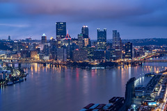 Pittsburgh in its blue hour morning glory