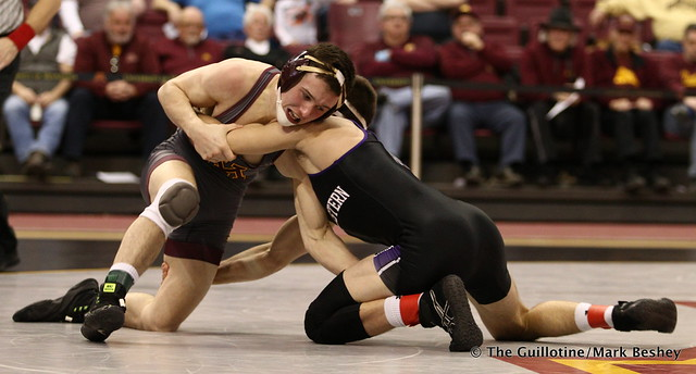 141: No. 10 Tommy Thorn (Minnesota) maj. dec. Alec McKenna (Northwestern) 13-3. 180128AMK0219
