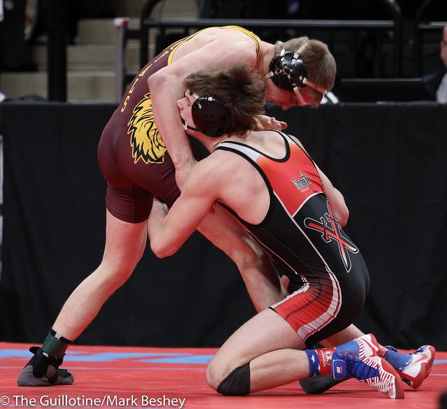 Quarterfinal - Kaden Spindler (West Central Area-Ashby-Brandon-Evansville) 42-3 won by major decision over Jackson Held (Royalton-Upsala) 41-5 (MD 14-6) - 180302cmk0039