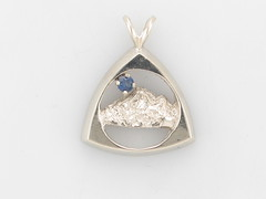 The Rockies 14KT White Gold & 2.5mm Ceylon Sapphire Pendant