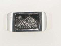 The Rockies Continuum Silver & .015ct Diamond 2 Peak Gents Ring