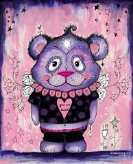 Meet the bear of compassion. :) ❤️🐻❤️ #willowing #willowingarts #mixedmedia #mixedmediaart #artistsofinstagram #tamaralaporte #art #lifebook2018