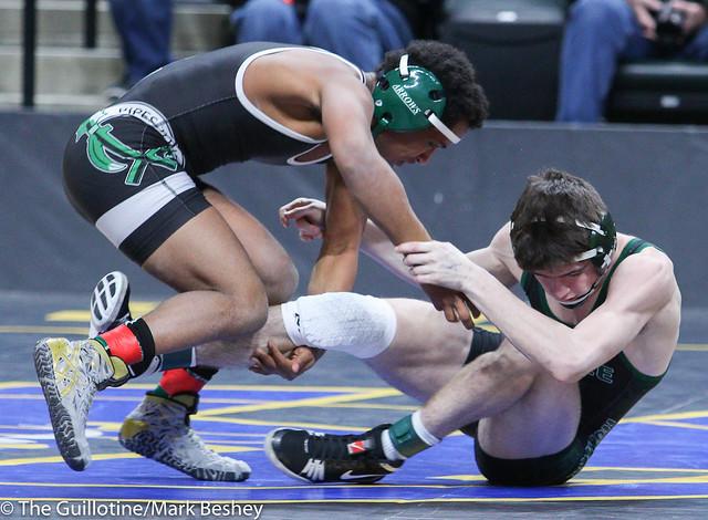 126A Semifinal - Michael Suda (Pipestone Area) 40-3 won in sudden victory - 1 over Tanner Schermerhorn (Frazee) 45-6 (SV-1 12-10) - 180303amk0032