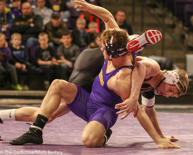 174: #7 Zach Johnston (MSU) Dec. over #3 Kolton Eischens (SCS) 11-5 | SCS 9-7 MSU - 180203amk0105