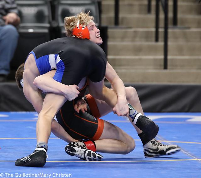 Semifinal - Bennett Berge (Kasson-Mantorville) 42-8 won by decision over Tanner Kroells (Delano) 40-5 (Dec 3-2). 180303AMC5294