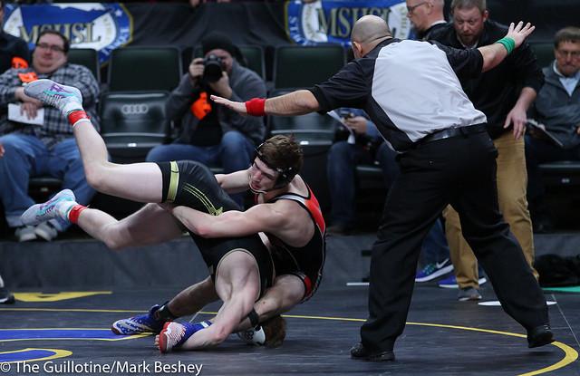 160A Semifinal - Zach Schneider (Caledonia-Houston) 37-3 won in sudden victory - 1 over Kaden Spindler (West Central Area-Ashby-Brandon-Evansville) 44-4 (SV-1 11-9) - 180303amk0062