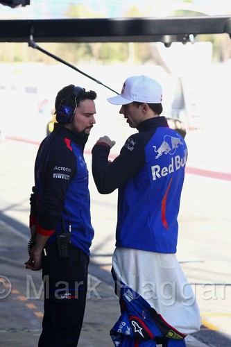 Pierre Gasly talks to his engineer during Formula One Winter Testing 2018