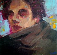 Donna con sciarpa, olio su tela, 30x30 cm, 2018