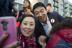 Democratic presidential candidate Andrew Yang holds a campaign rally in San Francisco, California, United States on March 15, 2019. (Photo by Yichuan Cao/Sipa USA)