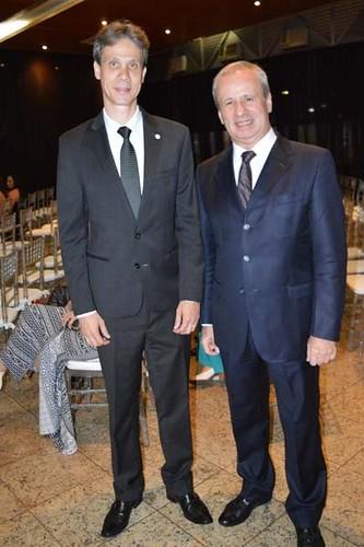 O presidente da Aciapi, Cláudio Zambaldi, e o presidente da Usiminas e homenageado maior da noite, Sérgio Leite