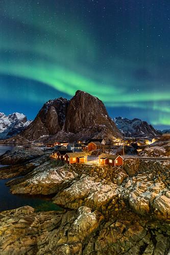 Northern lights in Hamnøy