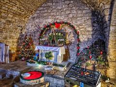 Madrasat al masihi (the crusader era synagogue church in Nazareth), decorated for Christmas