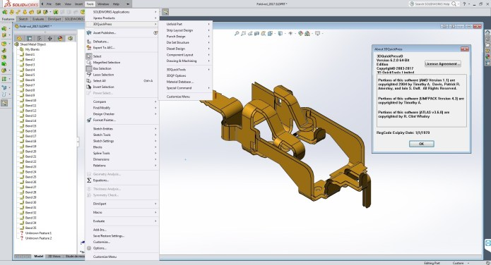 Design with 3DQuickPress v6.2.0 for SolidWorks 2011-2017 64bit FULL CRACK