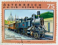 stamp Austria 75c 0.75 € Old town Vienna train railway stamp Lokomotive Zug Eisenbahn österreich briefmarke autriche timbre postage austria stamp selo francobollo Wiener Stadtbahn Gumpendorfer Strasse Sondermarke commemorative stamp special issue stamp