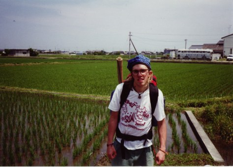 hitchhiking in japan by rice paddies