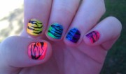 rainbow nails painted match