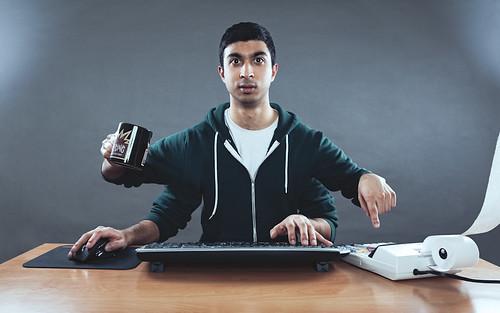 caffeinating, calculating, computerating