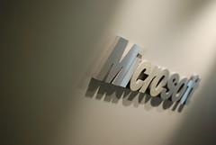 Microsoft logo in the hallway