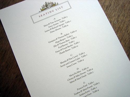 Monogram printable wedding seating list