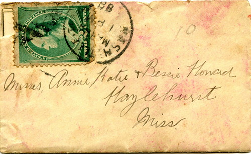 Letter and envelope from Nashville, Tennessee to Hazlehurst, Mississippi, March 1888