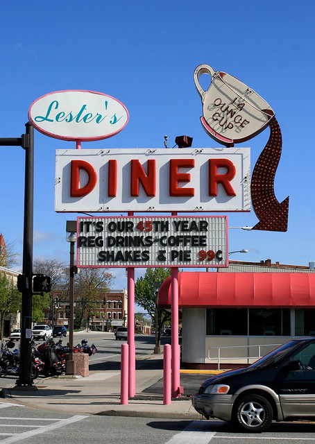 Time For A Healthy Breakfast. Lester's Diner neon sign in Bryan, Ohio. Photo copyright Jen Baker/Liberty Images; all rights reserved.