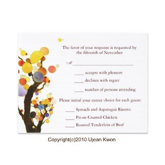 Love Trees(in White): Wedding RSVP Invitations