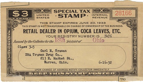 Retail Dealer in Opium Tax Stamp for the Truman Drug Company, Warren, Ohio, 1932
