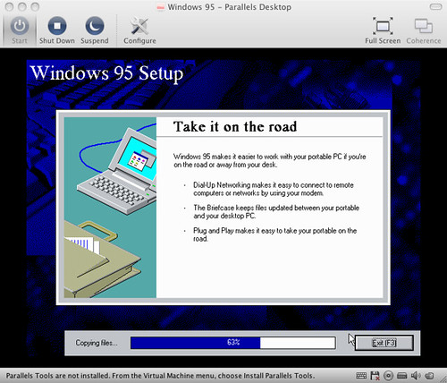 Installing Windows 95 In Parallels What Can I Say? I Was