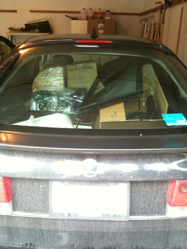 saab car full of stuff