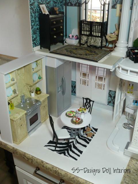 Barbie Dollhouse Kitchen ariel view  The kitchen is my