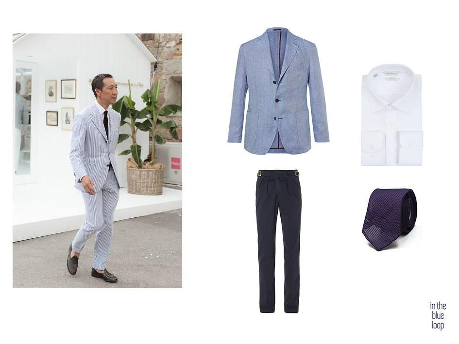 Camoshita viste traje masculino de verano con zapatos loafer y corbata en hombre es en los inspirarte en verano