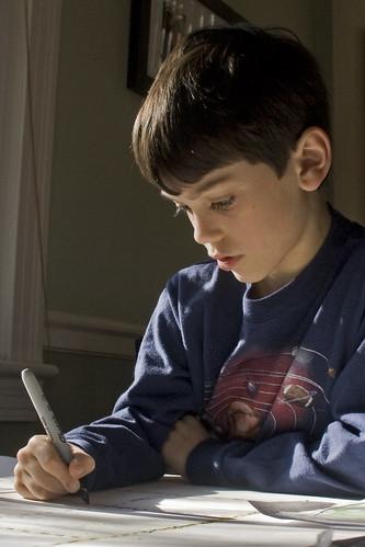 boy, with homework