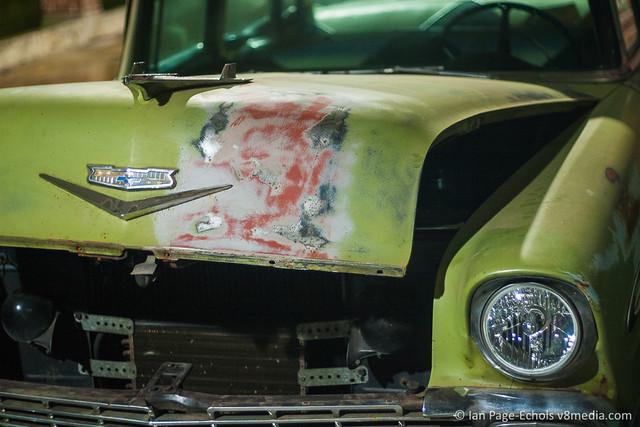 1956 Chevy Bel Air hood repair close up