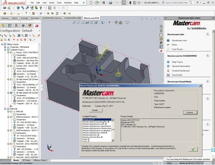 working with Mastercam 2018 (v20.0.14713.10) for SolidWorks 2010-2017 Win64