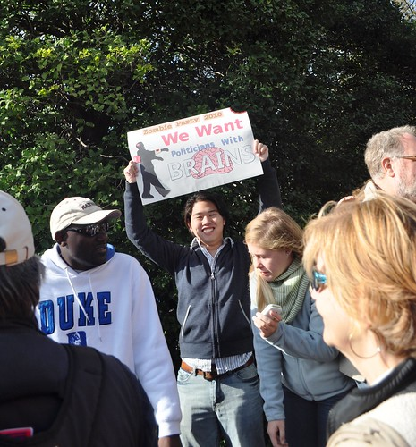 """""""We Want Politicians with Brains,"""" Rally for Sanity, Washington, D.C., Oct 2010"""
