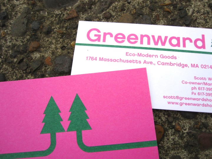 Business cards for Greenward Shop