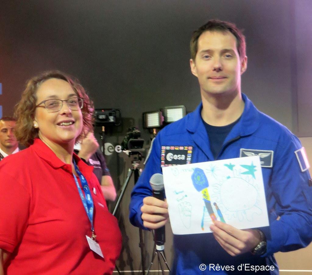 Au Salon du Bourget 2017, sur le stand de l'ESA, avec Thomas Pesquet