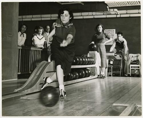 Woman bowling, taken around 1950