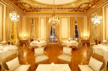 Les Aigles Reception Room With Golden Chandeliers And Orn