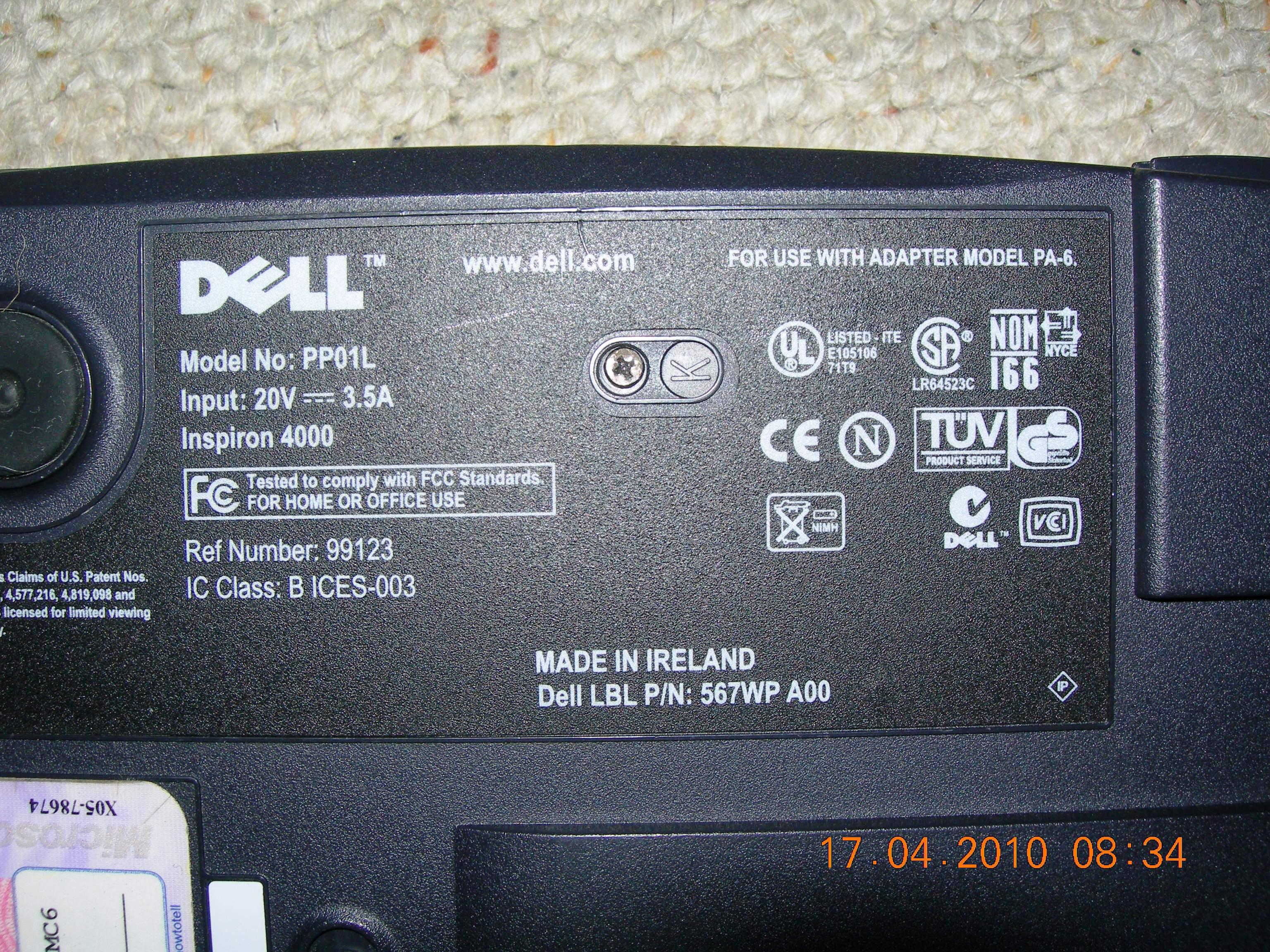 Dell Laptop Inspiron 4000 PP01L BIOS battery swap DSCN2352